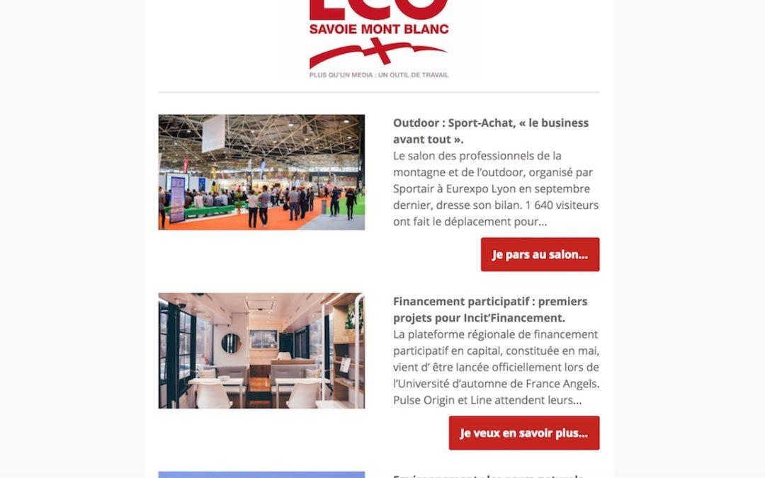 ECO Savoie Mont Blanc : création et rédaction d'une newsletter hebdomadaire
